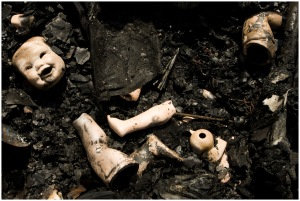 7/26/2010 - Jay Janner/AMERICAN-STATESMAN - A doll collection was destroyed in a house fire on Capitol View Drive near Onion Creek on Monday July 26, 2010.